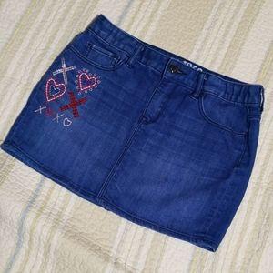 Gap kids 1969 denim mini skirt Embroidered Size 14